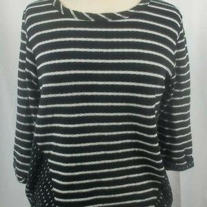 Bobeau Womens 3/4 Sleeve Striped Shirt Size Large